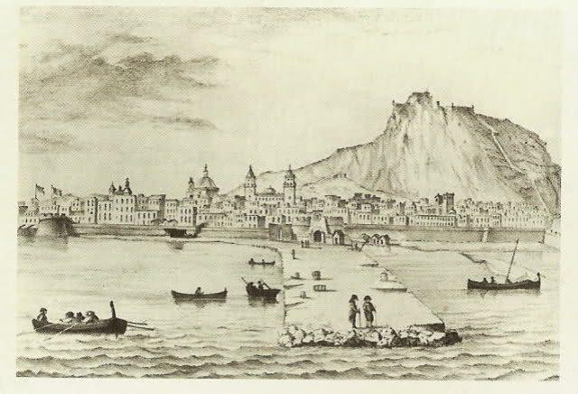 Vista de Alicante y Castillo de Santa Bárbara. Grabado s. XVIII