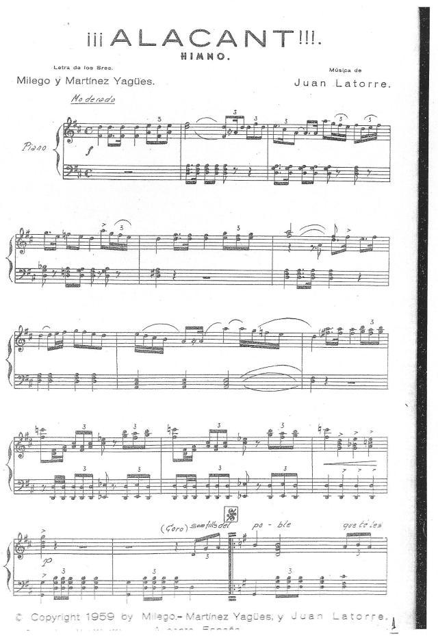 Himno a Alicante, partitura 1 de 3